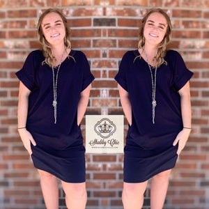 Navy Tee Dress Shabby Chic Boutique and Tanning Salon