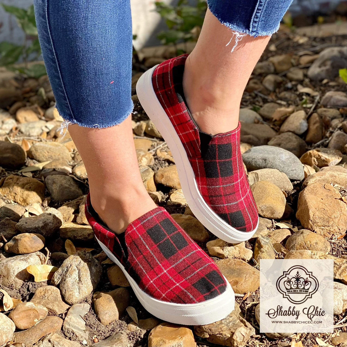 New Red Plaid Sneakers - SALE Shabby Chic Boutique and Tanning Salon