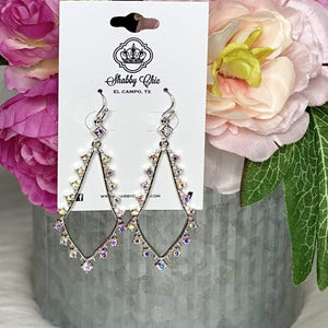 Night on the town Silver Earrings - Iridescent Stones Shabby Chic Boutique and Tanning Salon
