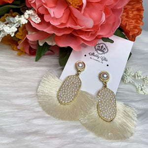 Pearls and Tassel Earrings Shabby Chic Boutique and Tanning Salon
