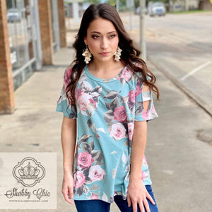 Peek A Boo Floral Top Shabby Chic Boutique and Tanning Salon