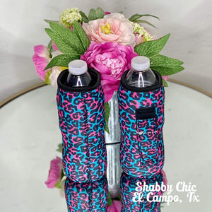 Pink and Blue Leopard Water Bottle Koozie Shabby Chic Boutique and Tanning Salon
