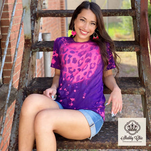 Pink and Purple Bleached Leopard Tee Shabby Chic Boutique and Tanning Salon
