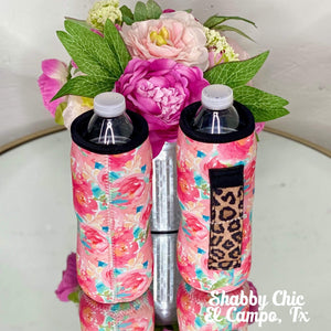 Pink Roses with Leopard handle Water Bottle Koozie Shabby Chic Boutique and Tanning Salon