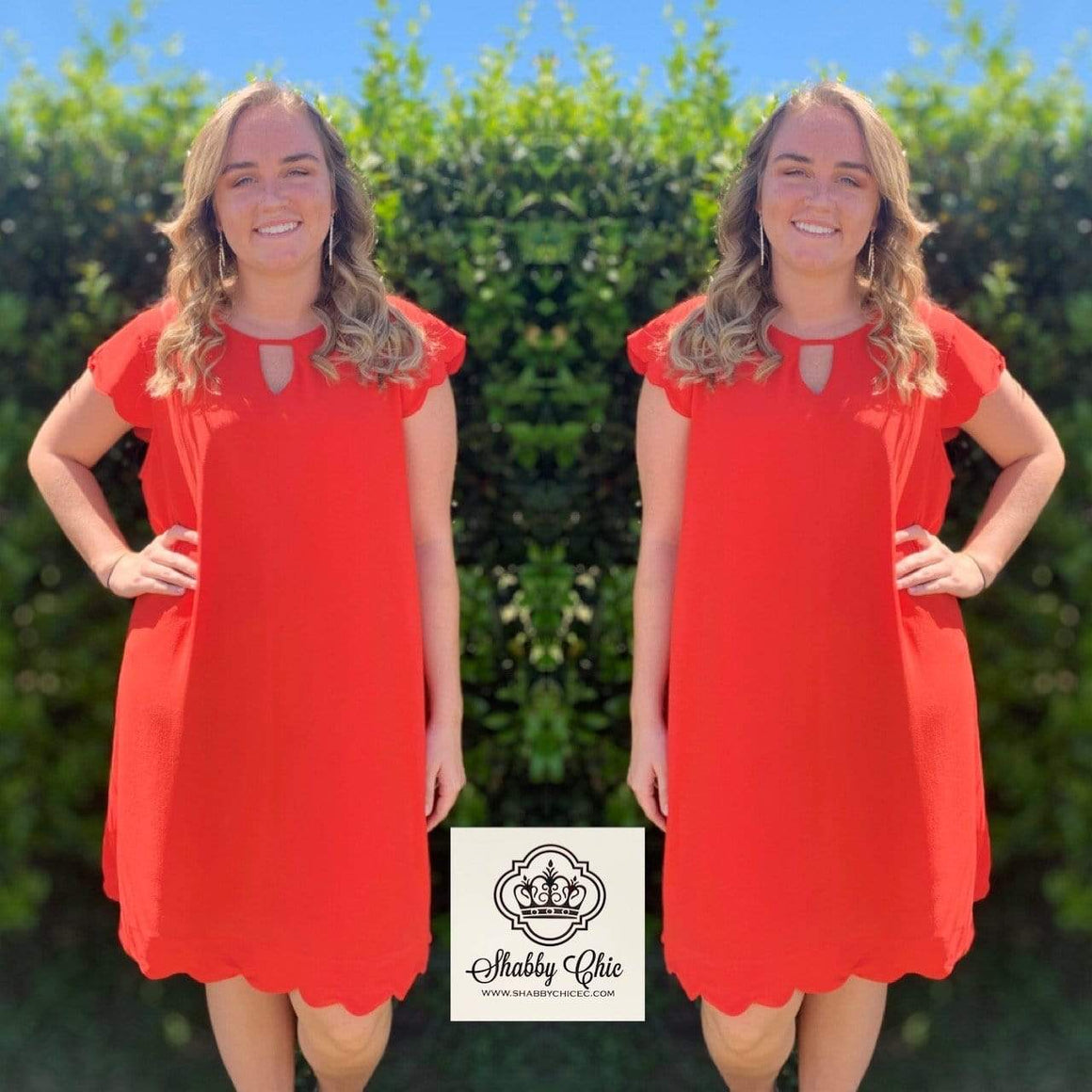 Red Dress with Scalloped Hem Shabby Chic Boutique and Tanning Salon