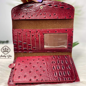 Red Ostrich TriFold Wallet Shabby Chic Boutique and Tanning Salon