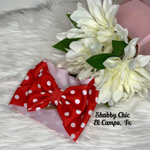 Red Polka dot Headband Bow Shabby Chic Boutique and Tanning Salon