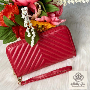Red Quilted Zip Wallet Shabby Chic Boutique and Tanning Salon
