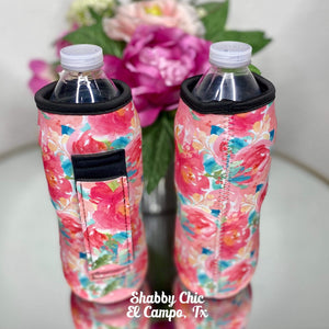 Roses Water Bottle Koozie Shabby Chic Boutique and Tanning Salon