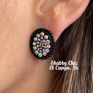 Sally Medium Black with Iridescent stud Earrings Shabby Chic Boutique and Tanning Salon