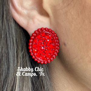 Sally Medium Red with Red stud Earrings Shabby Chic Boutique and Tanning Salon