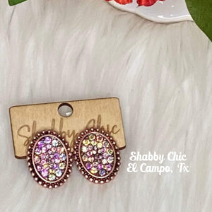 Sally Small Copper with Iridescent stud Earrings Shabby Chic Boutique and Tanning Salon