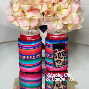 Serape with Leopard handle MINI Can Koozie 8 oz cans Shabby Chic Boutique and Tanning Salon