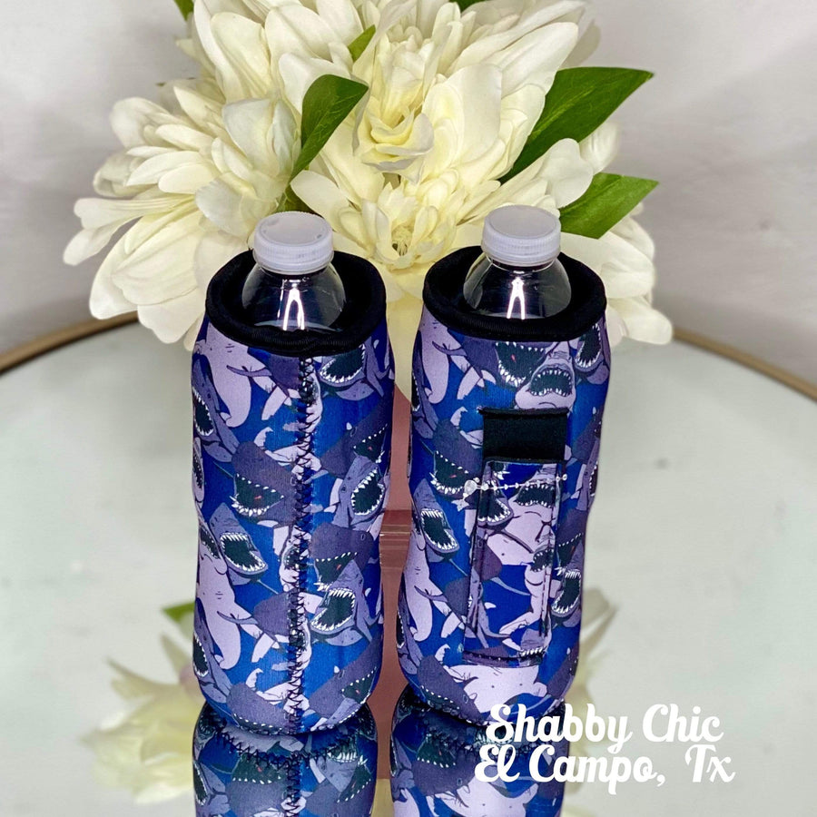 Sharks Water Bottle Koozie Shabby Chic Boutique and Tanning Salon