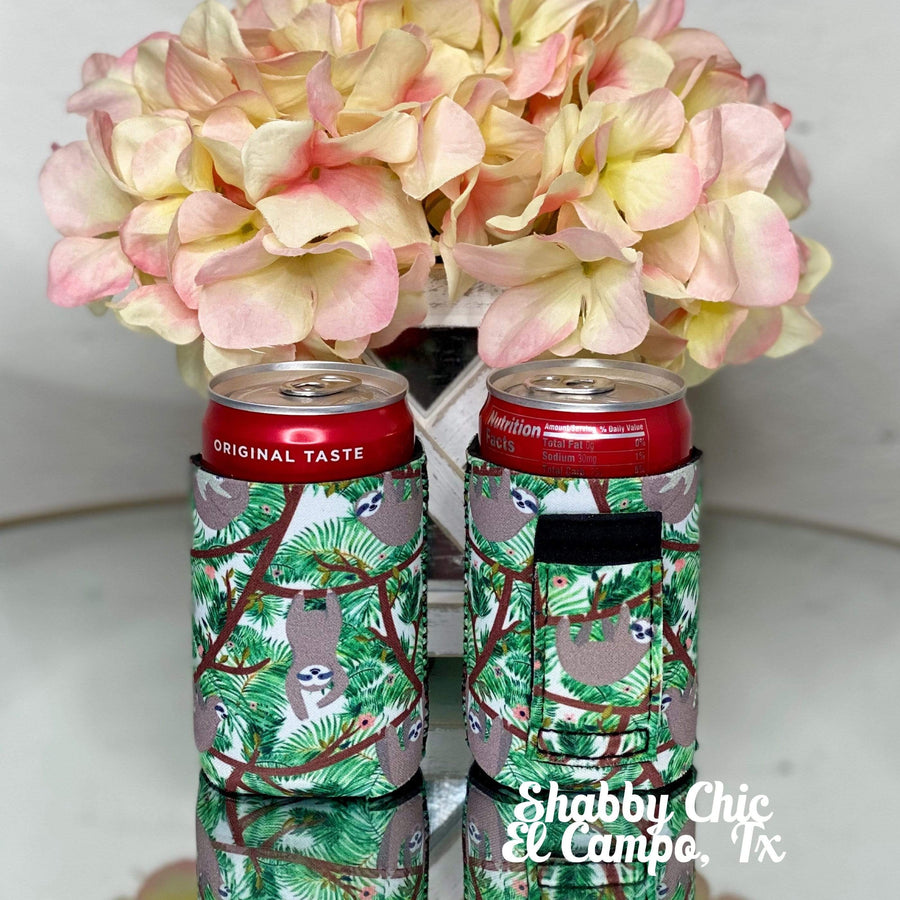 Sloths MINI Can Koozie 8 oz cans Shabby Chic Boutique and Tanning Salon