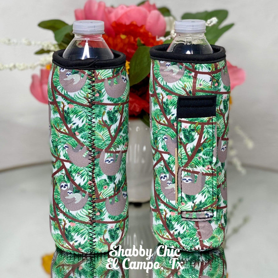 Sloths Water Bottle Koozie Shabby Chic Boutique and Tanning Salon