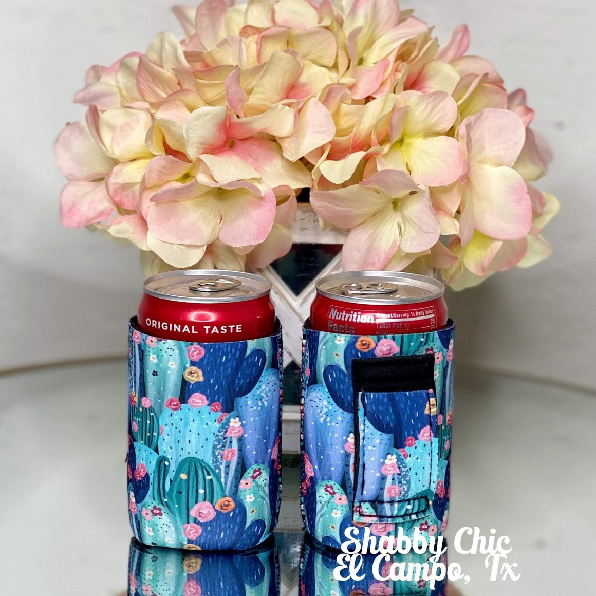Succulents MINI Can Koozie 8 oz cans Shabby Chic Boutique and Tanning Salon