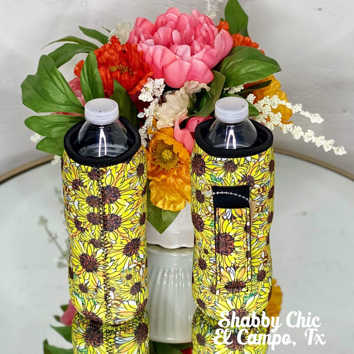Sunflower Water Bottle Koozie Shabby Chic Boutique and Tanning Salon