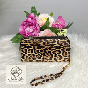 Tan Leopard Double Zip Wallet Shabby Chic Boutique and Tanning Salon