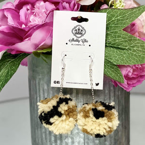 Tan Leopard Pom Pom Earrings Shabby Chic Boutique and Tanning Salon