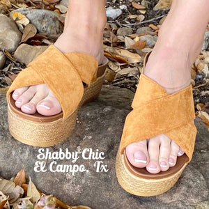 Tan Similar Platform Sandals Shabby Chic Boutique and Tanning Salon