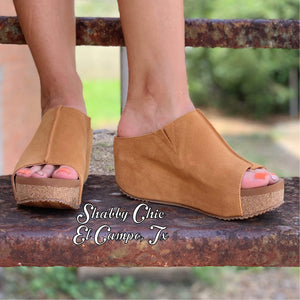 Tan Suede Wedges Shabby Chic Boutique and Tanning Salon