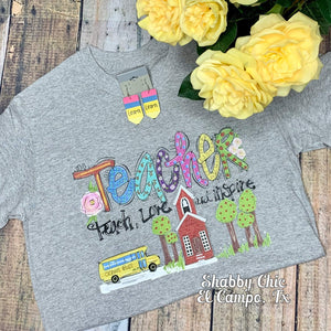Teacher Teach Love Inspire Tee Shabby Chic Boutique and Tanning Salon