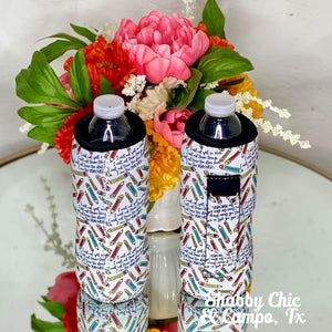 Teacher Water Bottle Koozie Shabby Chic Boutique and Tanning Salon