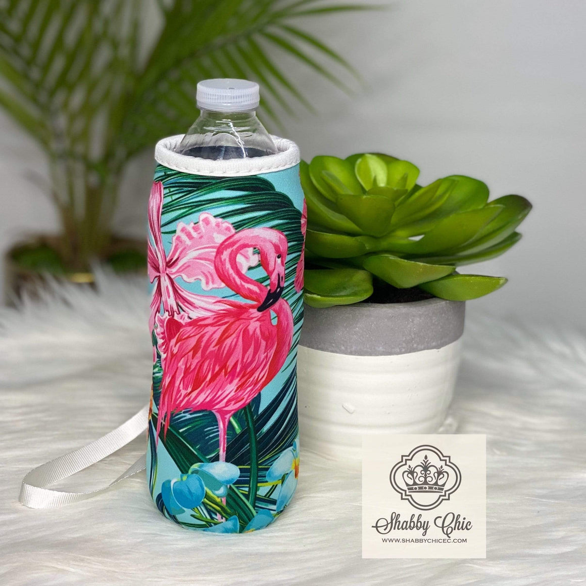 Tropical Flamingo Water Bottle Koozie Shabby Chic Boutique and Tanning Salon