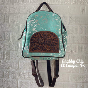 Turquoise and Silver Hair on Hide Backpack Shabby Chic Boutique and Tanning Salon