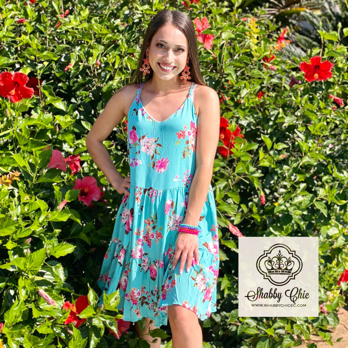 Turquoise Floral Baby Doll Dress Shabby Chic Boutique and Tanning Salon