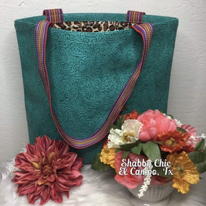 Turquoise Tooled Tote Shabby Chic Boutique and Tanning Salon
