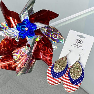 USA - Red Blue and Gold earrings Shabby Chic Boutique and Tanning Salon
