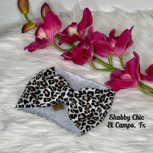 Velvet Leopard Headband Bow Shabby Chic Boutique and Tanning Salon
