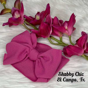 Violet Pink Headband Bow Shabby Chic Boutique and Tanning Salon