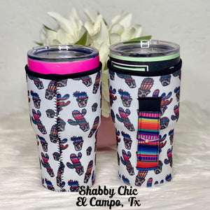 Whimsy Cactus with Serape handle Koozie for 24-30 oz Yeti™️ style Shabby Chic Boutique and Tanning Salon