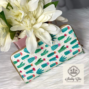 White Cactus Zip Wallet Shabby Chic Boutique and Tanning Salon