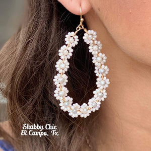 White Crystal Flower Earrings Shabby Chic Boutique and Tanning Salon