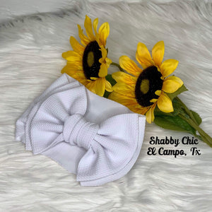 White Headband Bow Shabby Chic Boutique and Tanning Salon