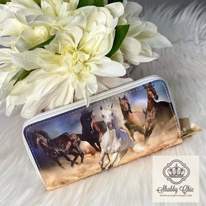 Wild Horses Zip Wallet Shabby Chic Boutique and Tanning Salon