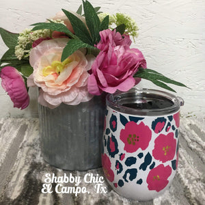 Wild Posy 12oz Stemless Wine Cup Shabby Chic Boutique and Tanning Salon