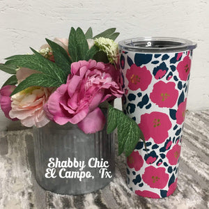 Wild Posy 22oz Stainless Tumbler Shabby Chic Boutique and Tanning Salon