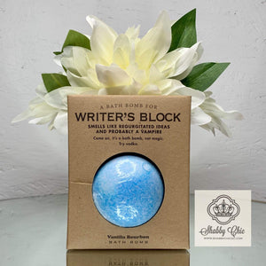 Writer's Block Bath Bomb Shabby Chic Boutique and Tanning Salon