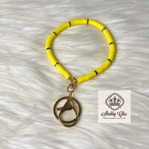 Yellow beaded Key Ring Shabby Chic Boutique and Tanning Salon