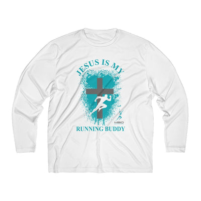 Jesus is My Running Buddy Men's Long Sleeve Tech Shirt Long-sleeve Printify White L