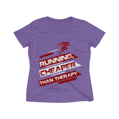 Running, Cheaper Than Therapy Women's Short Sleeve Tech Shirt T-Shirt Printify Sport Tek Purple Heather XS