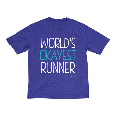 World's Okayest Runner Men's Short Sleeve Tech Shirt T-Shirt Printify Sport Tek Cobalt Heather XS