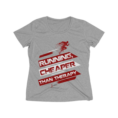 Running, Cheaper Than Therapy Women's Short Sleeve Tech Shirt T-Shirt Printify Sport Tek Vintage Heather L