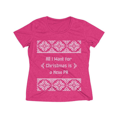 All I Want for Christmas Women's Short Sleeve Tech Shirt T-Shirt Printify Sport-Tek Pink Raspberry Heather XS