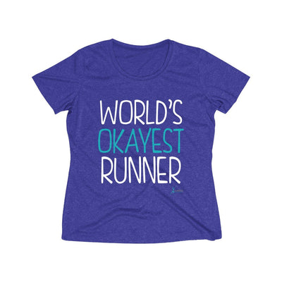 World's Okayest Runner Women's Short Sleeve Tech Shirt T-Shirt Printify Sport-Tek Cobalt Heather S